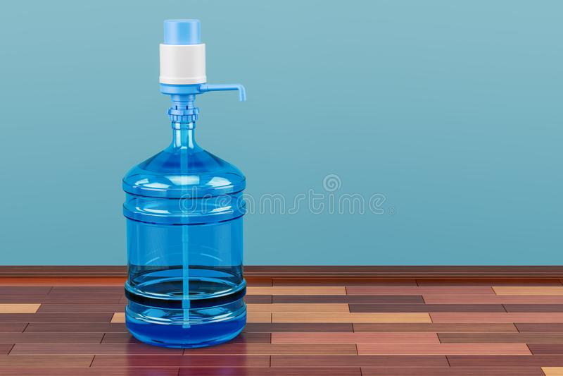 Bouteille d'eau potable avec le distributeur de pompe dans la chambre sur l'en bois illustration libre de droits