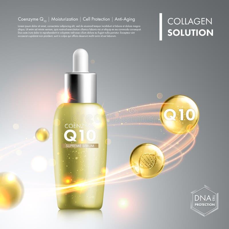 Bouteille d'essence de sérum du coenzyme Q10 illustration libre de droits