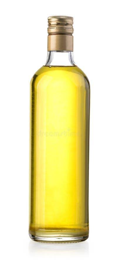Bouteille d'huile d'olive sur le blanc photographie stock libre de droits