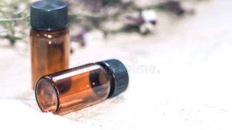 Bouteille d'huile essentielle Bouteille de compte-gouttes de phytoth?rapie ou d'aromatherapy d'isolement sur le fond blanc photos stock