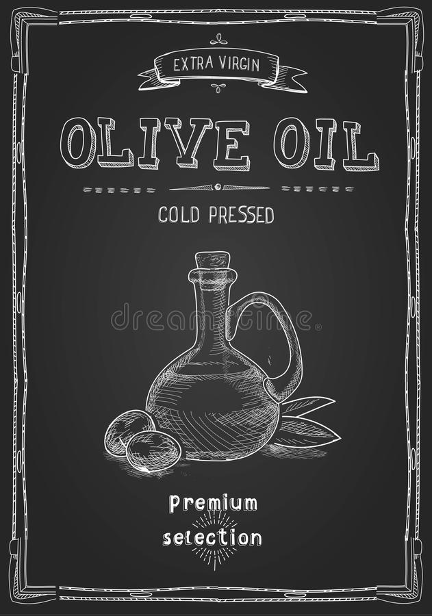 Bouteille d'huile d'olive sur le tableau noir Label tiré par la main de style illustration libre de droits