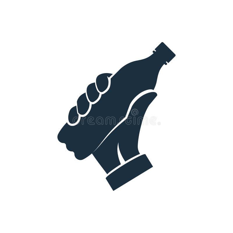 Bouteille d'icône de prise noire de silhouette de soude à disposition illustration stock