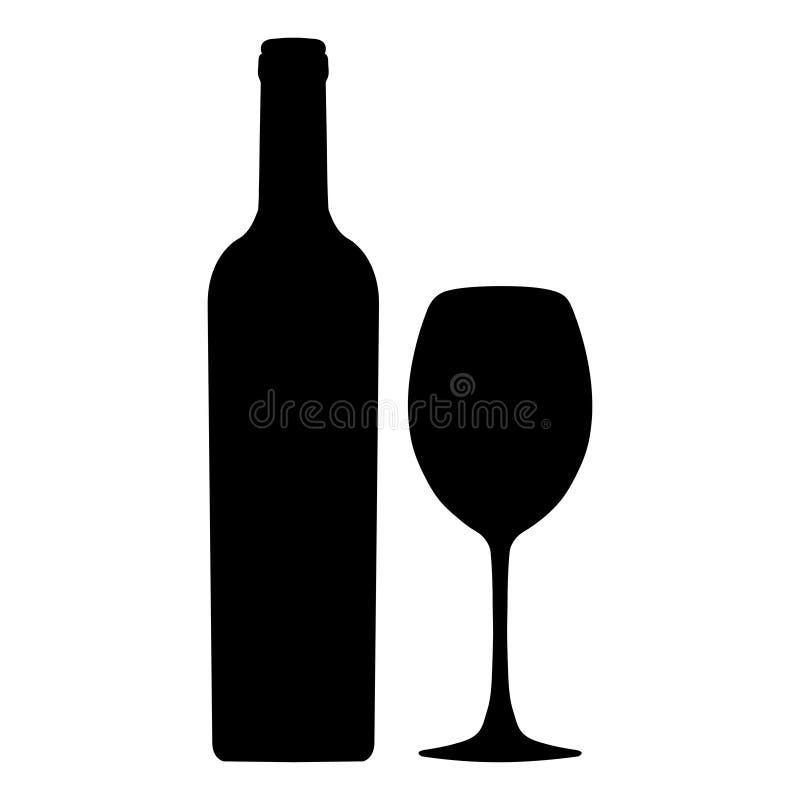 Bouteille d'icône de vecteur de vin et de verre à vin, logo, signe, emblème, silhouette d'isolement sur le fond blanc illustration de vecteur