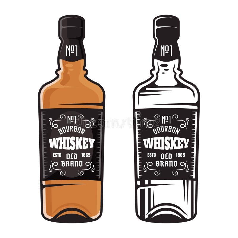 Bouteille d'illustration de vecteur de styles du whiskey deux illustration stock
