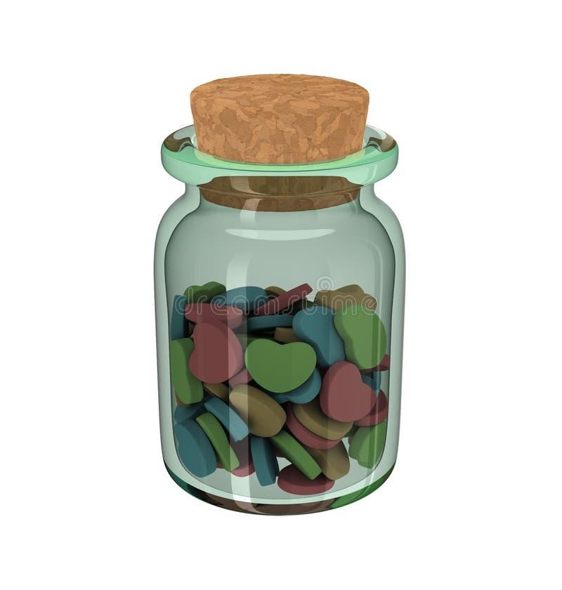 Bouteille d'isolement de médecine avec les pilules en forme de coeur d'amour avec le chapeau de liège dessus au-dessus d'un fond  illustration de vecteur