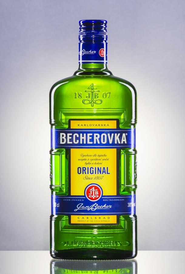 Bouteille de Becherovka sur le fond de gradient image libre de droits