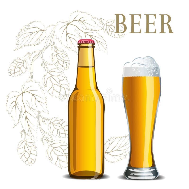 Bouteille de bière et d'un verre sur le fond d'un croquis d'houblon illustration libre de droits