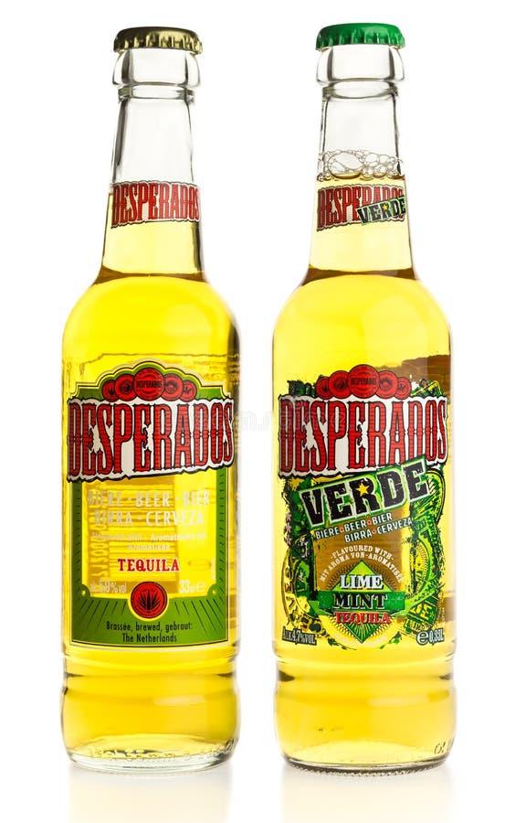 Bouteille de bière mexicaine de tequila et de Verde de desperados images libres de droits
