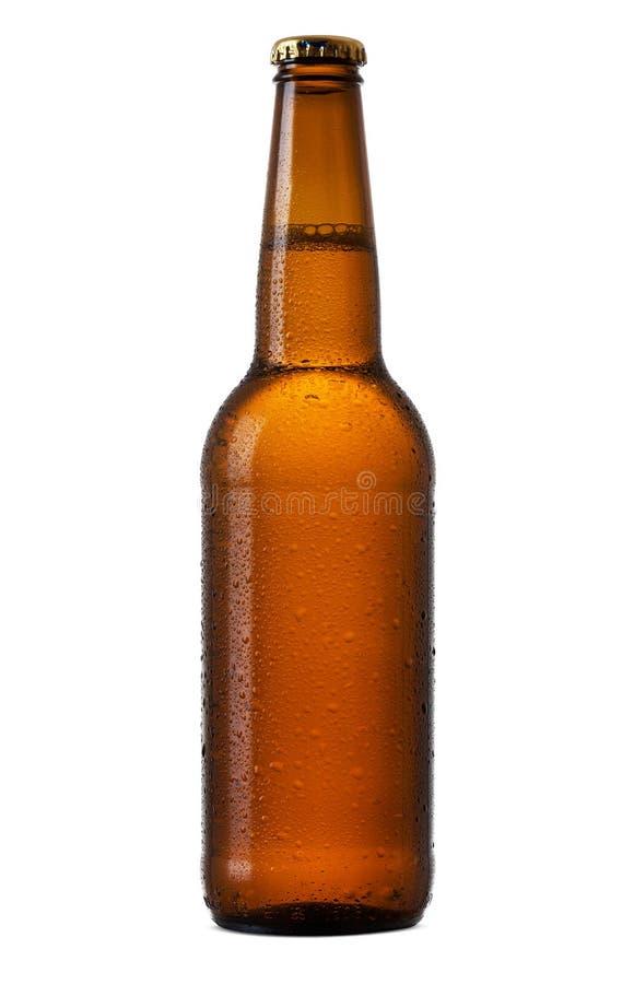 Bouteille de bière sur le fond blanc images libres de droits