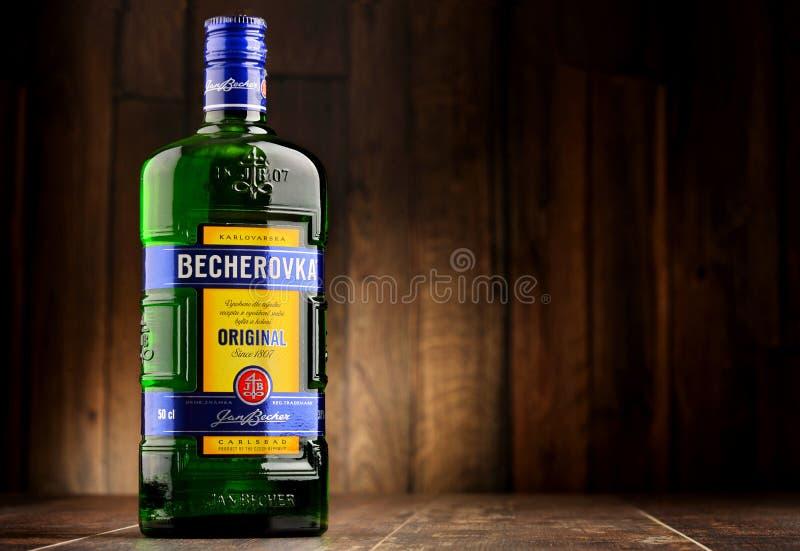 Bouteille de bitter de Becherovka photos stock