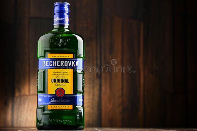 Bouteille de bitter de Becherovka photo libre de droits