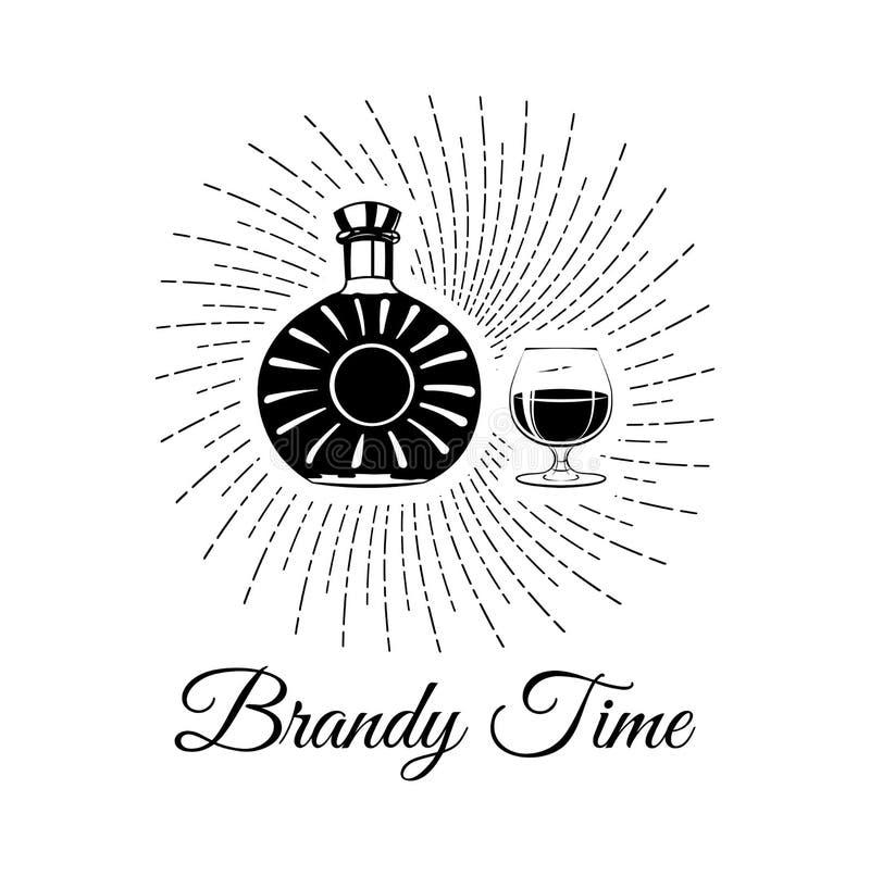 Bouteille de bourbon, de whiskey, de cognac et de verre d'eau-de-vie fine Laisse le lettrage de boissons alcool illustration libre de droits