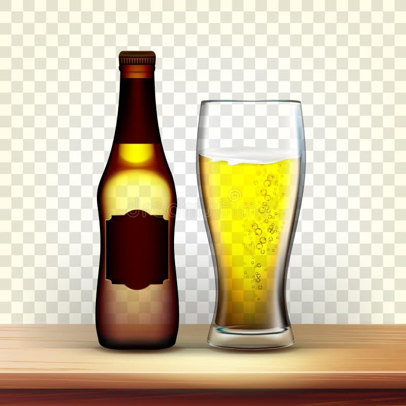 Bouteille de Brown et verre réalistes de Lager Vector illustration stock