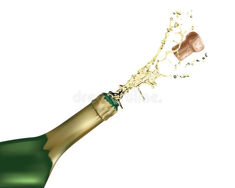 Bouteille de Champagne avec du liège sautant  illustration stock