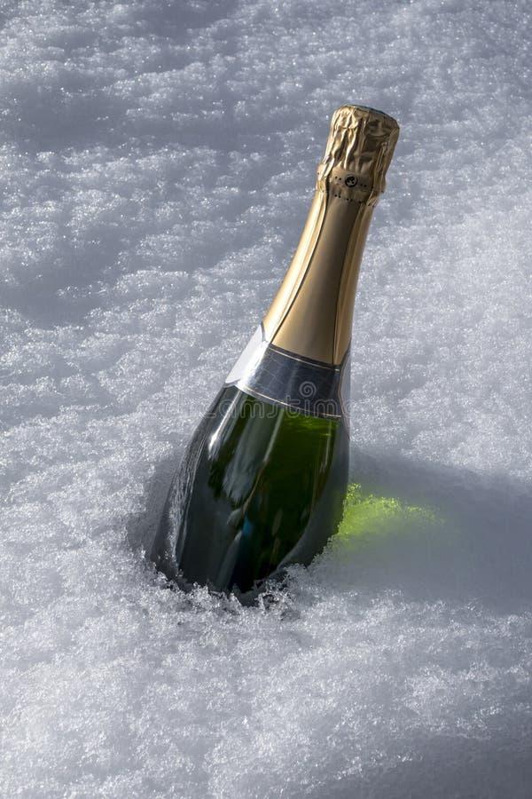 Bouteille de Champagne dans la neige photos libres de droits