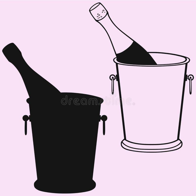 Bouteille de Champagne en silhouette de seau à glace image stock