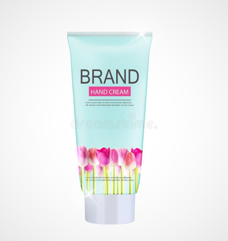 Bouteille de crème de soin de main, calibre de tube pour des annonces ou magazine Backgr illustration libre de droits