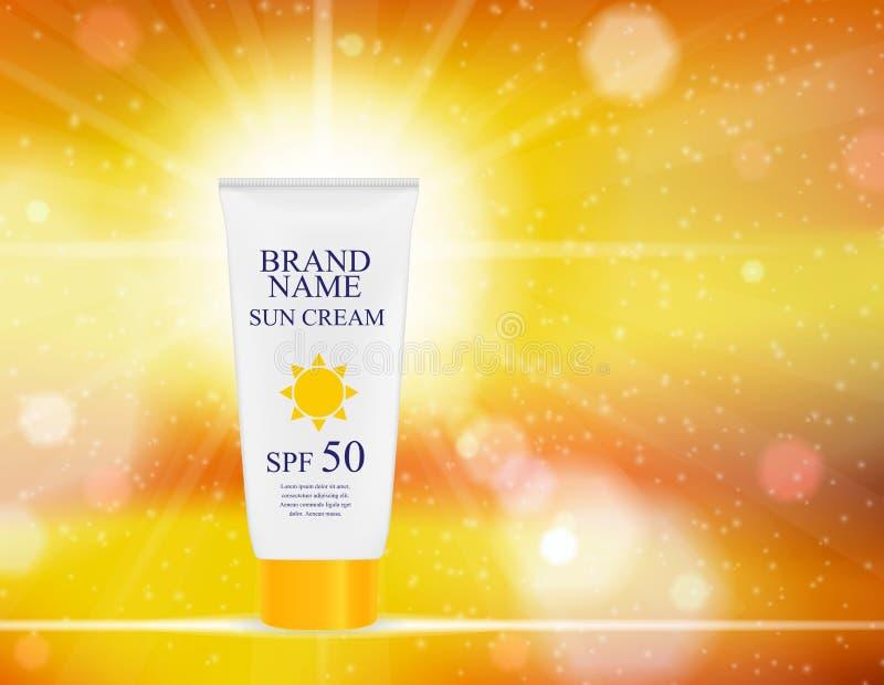 Bouteille de crème de soin de Sun, calibre de tube pour des annonces ou fond de magazine 3D vecteur réaliste Iillustration illustration libre de droits