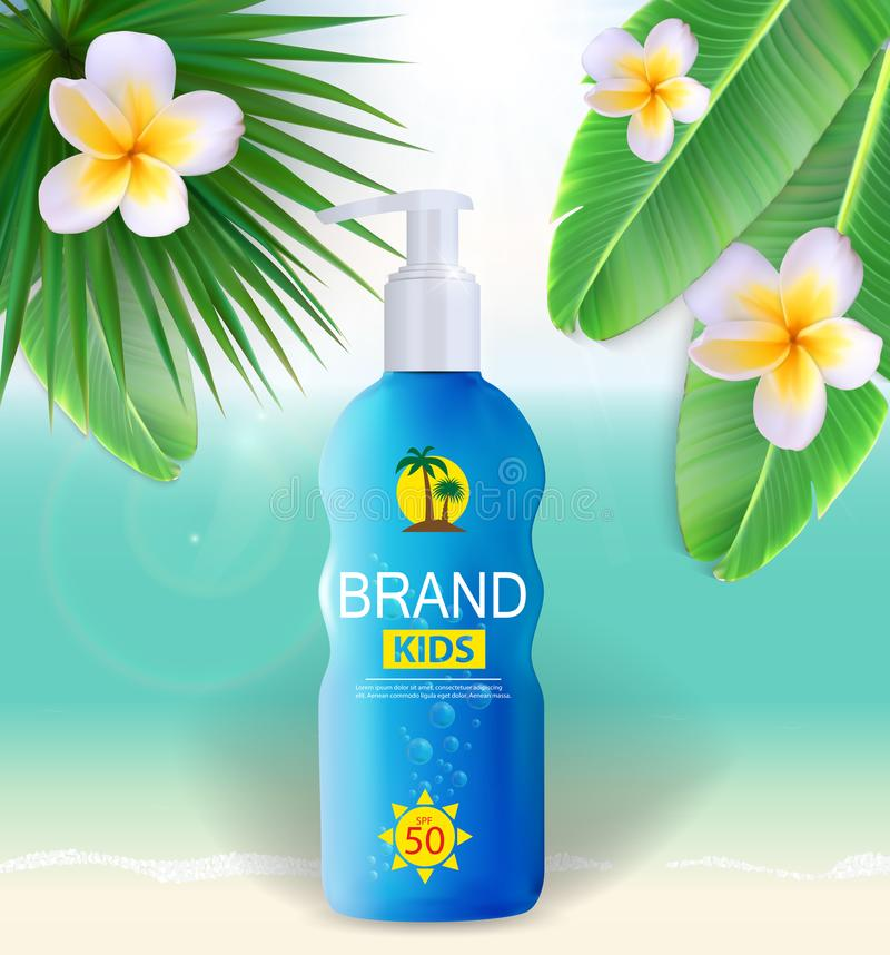Bouteille de crème de soin de Sun, calibre de tube pour des annonces ou fond de magazine 3D vecteur réaliste Iillustration illustration stock
