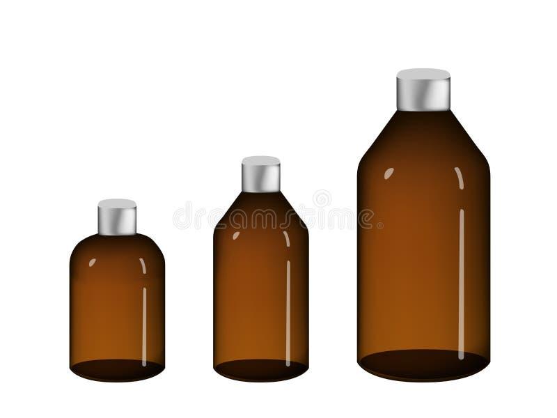 Bouteille de drogue de Brown d'isolement sur le blanc, conception de vecteur illustration de vecteur