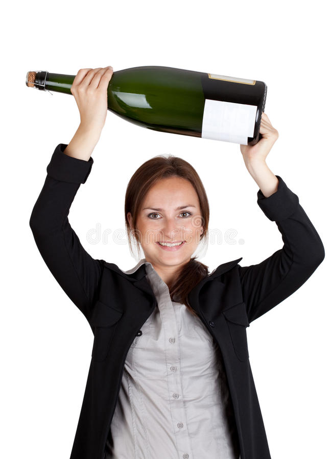 Bouteille de femme d'affaires et de champagne photos libres de droits