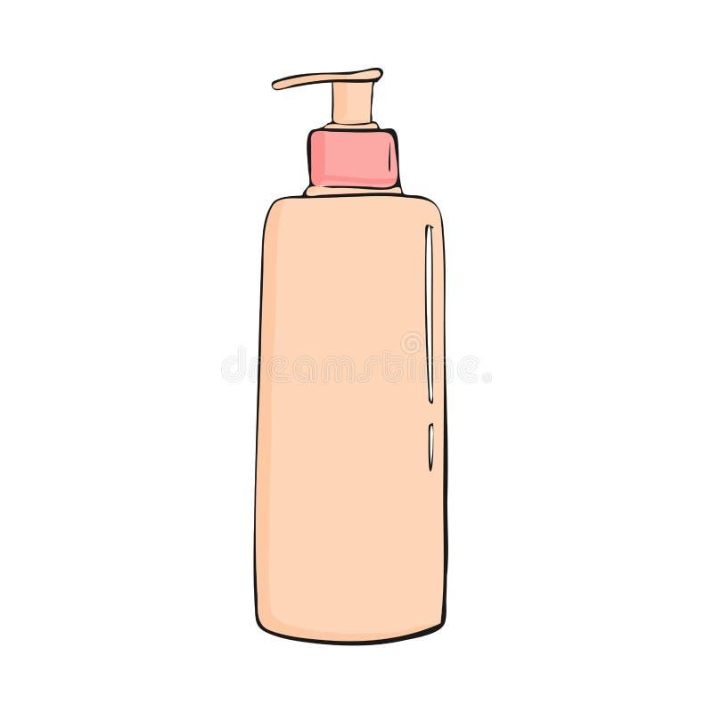 bouteille de gel de douche avec le distributeur Graphisme cosmétique Style à la mode de bande dessinée Illustration d'hygiène et  illustration libre de droits