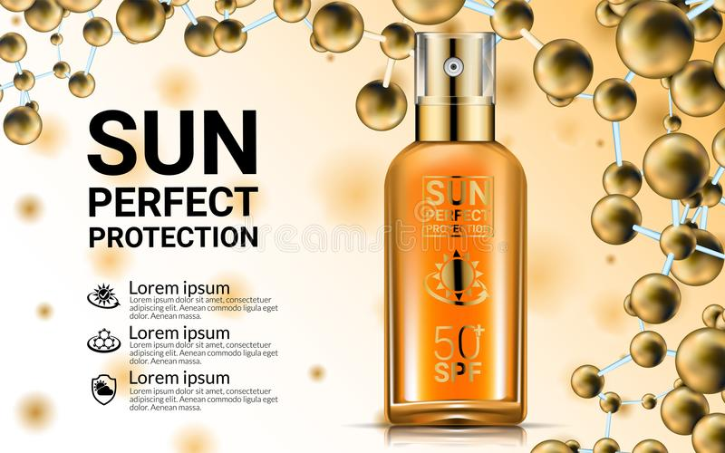 Bouteille de jet d'huile de tubes de crème de lotion de corps Solution UV Suncare de protection de SPF Sun de Sunblock Réparez la illustration libre de droits
