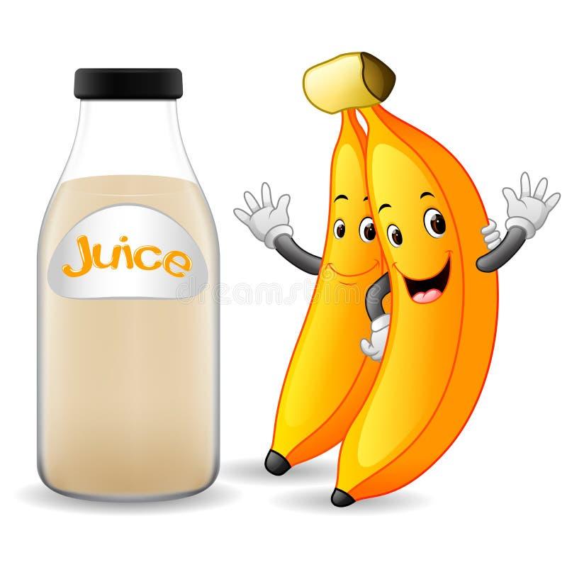 Bouteille de jus de banane avec la bande dessinée mignonne de banane illustration libre de droits