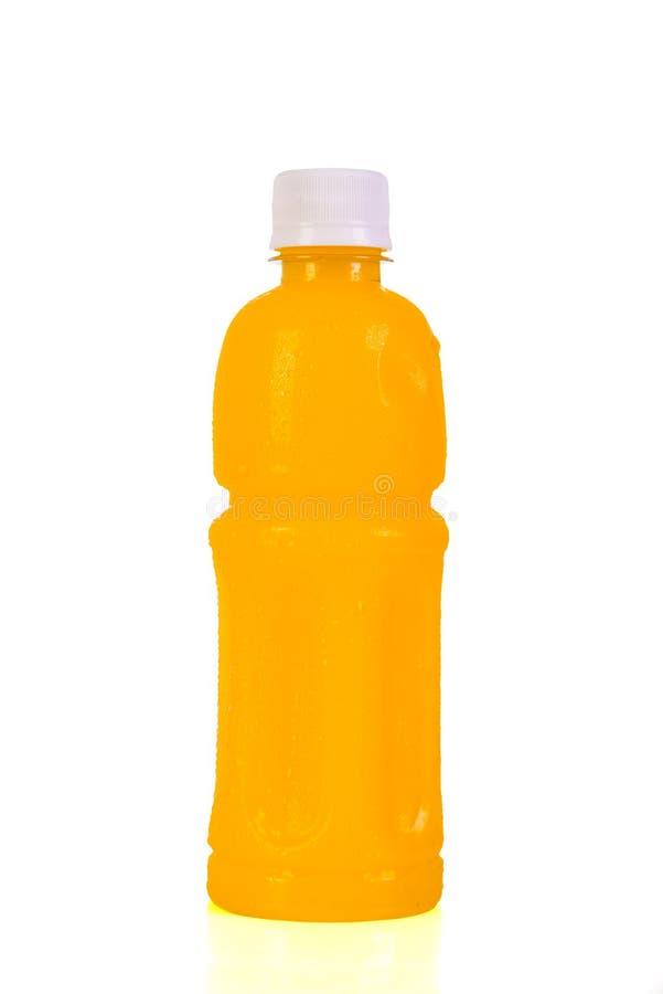 Bouteille de jus d'orange D'isolement sur le fond blanc image libre de droits