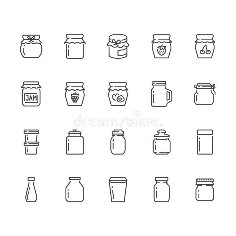 Bouteille de ligne plate icônes de confiture Emballage en verre pour la confiserie de fruit, vecteur de récipient de gelée de fra illustration de vecteur