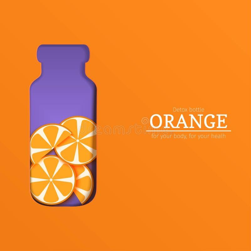 Bouteille de Papercut avec le fruit d'orange d'agrume de tranche Llustration de carte de vecteur Frontière tropicale de fruit d'o illustration libre de droits