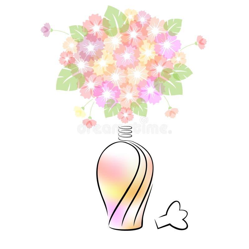 Bouteille de parfum avec des fleurs illustration libre de droits