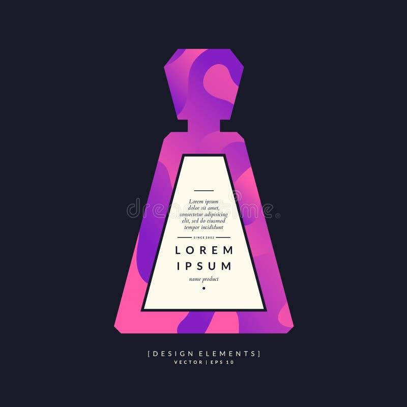 Bouteille de parfum avec les lignes et les vagues dynamiques Affiche moderne lumineuse pour le parfum de faire de la publicité et illustration libre de droits