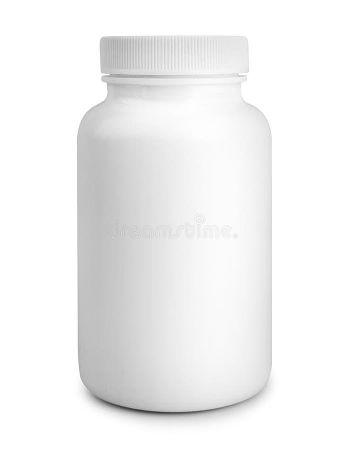 Bouteille de pilule blanche de médecine d'isolement sur le fond blanc photo stock