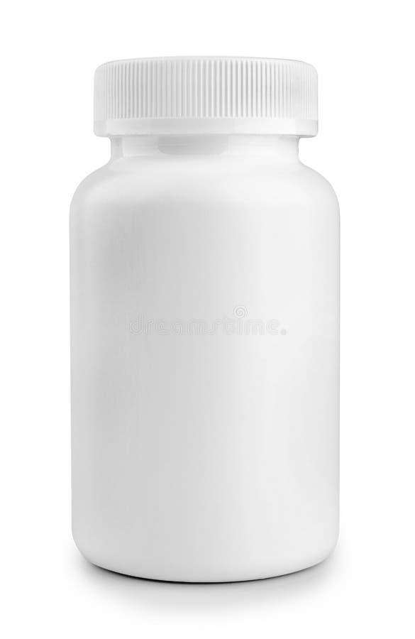 Bouteille de pilule blanche de médecine d'isolement sur le fond blanc images libres de droits