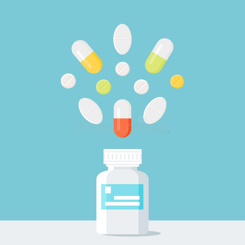 Bouteille de pilules de médecine avec des pilules au-dessus de elle illustration libre de droits