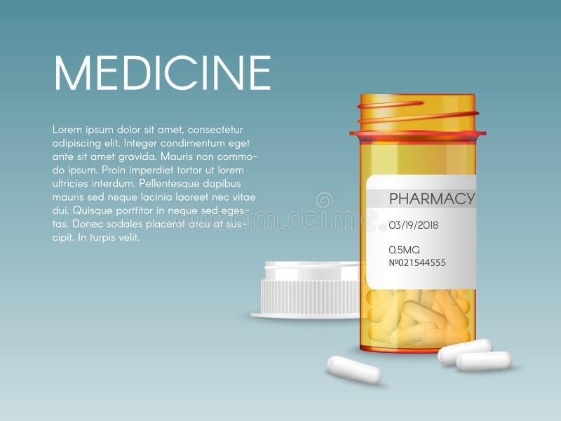 Bouteille de pilules orange médicale de vecteur réaliste avec les comprimés vides d'une médecine de prescription de label Maquett illustration stock