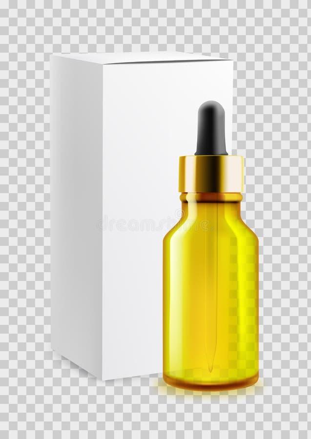 Bouteille de pipette pour l'huile d'agrume, emballage de papier vide pour la conception et publicité Sur le fond du transparent V illustration de vecteur