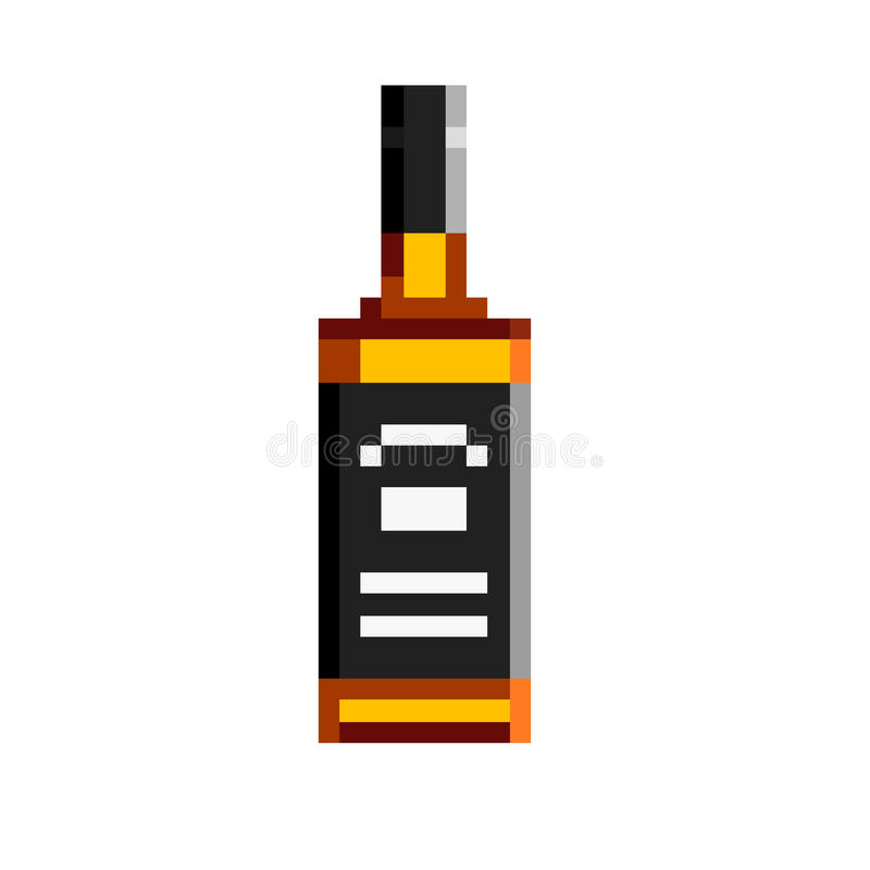 Bouteille de pixel de whiskey images stock