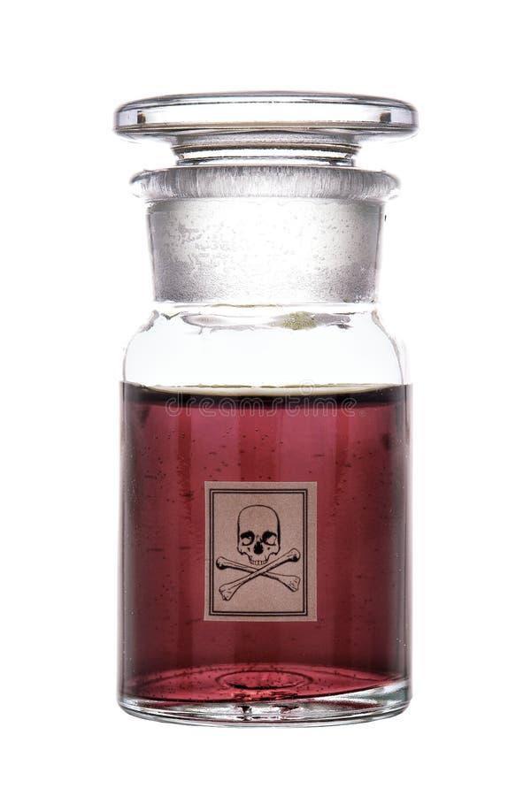 Bouteille de poison avec l'étiquette d'avertissement de crâne et d'os photographie stock libre de droits