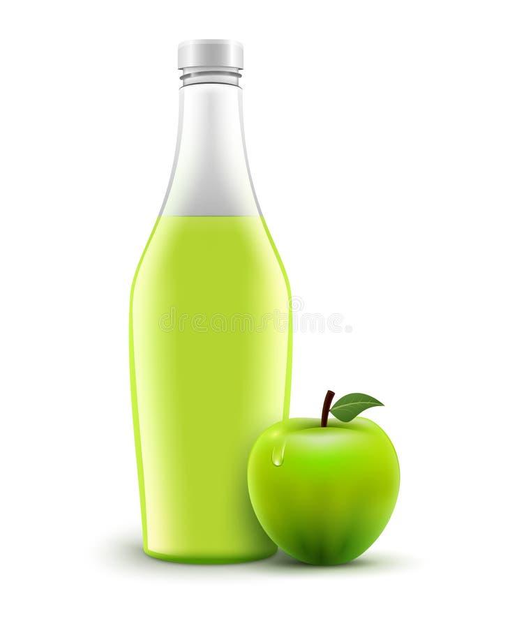 Bouteille de pomme de jus d'isolement Nourriture liquide saine de vecteur Boisson vert pomme de jus en verre illustration de vecteur