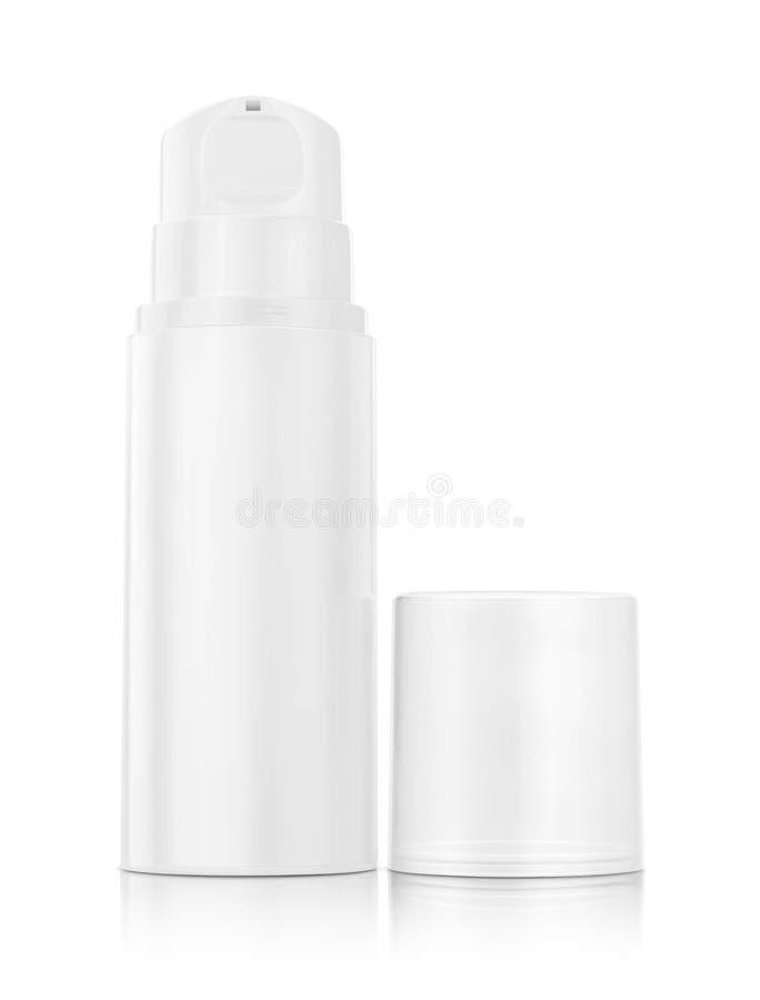 Bouteille de pompe pour la crème et lotion d'isolement sur le fond blanc photos stock