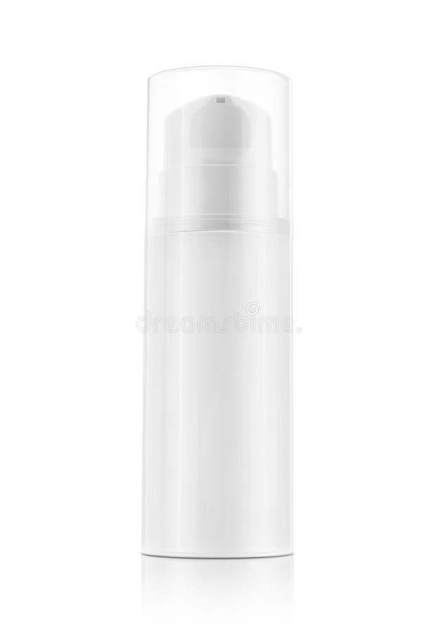 Bouteille de pompe pour la crème et lotion d'isolement sur le fond blanc images libres de droits