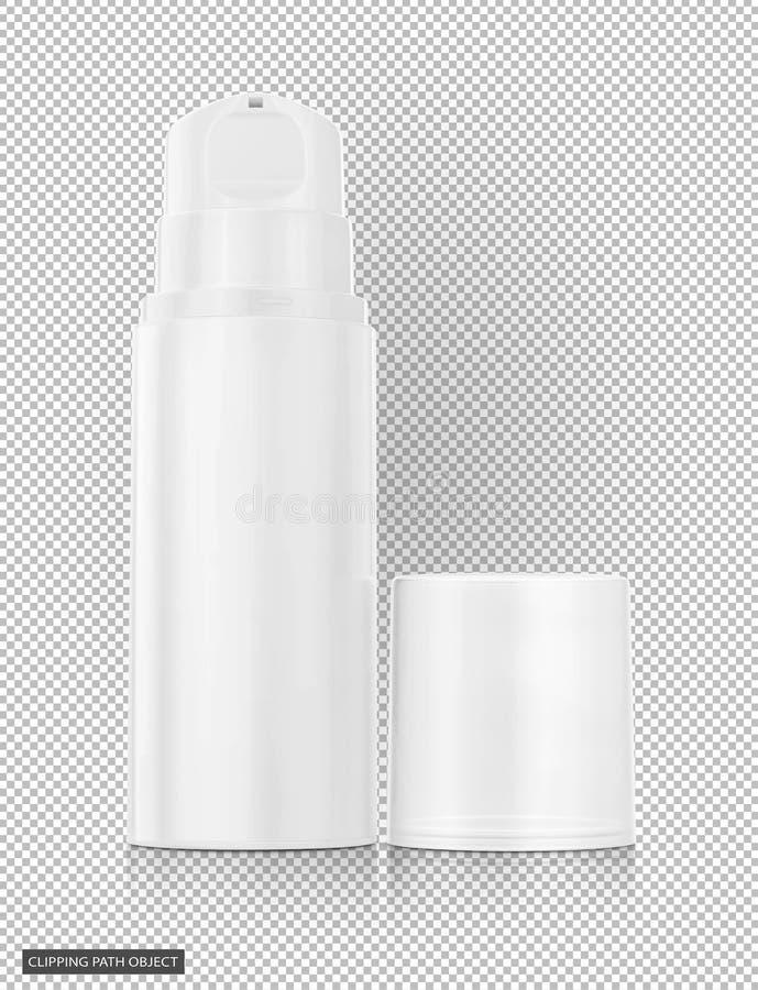 Bouteille de pompe pour la crème et lotion d'isolement sur le fond transparent virtuel photos libres de droits