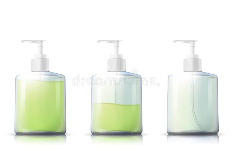 Bouteille de pompe de shampooing de vecteur avec l'int?rieur liquide de gel illustration de vecteur