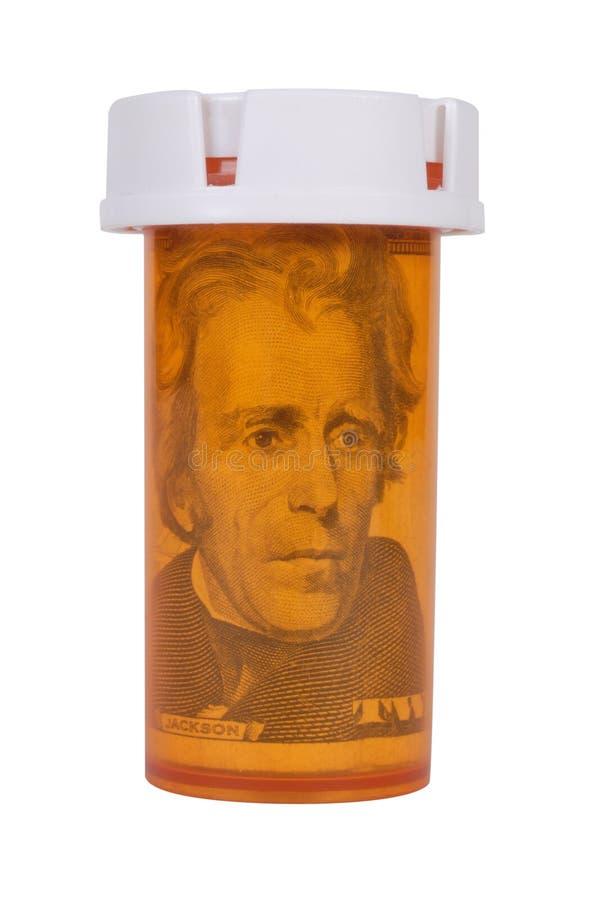 Bouteille de prescription avec de l'argent photos stock