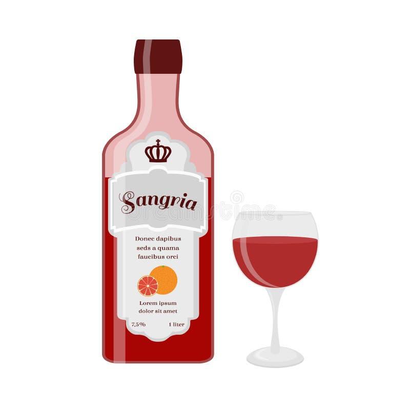 Bouteille de sangria avec le verre Vin espagnol avec l'orange, citron, baies illustration libre de droits