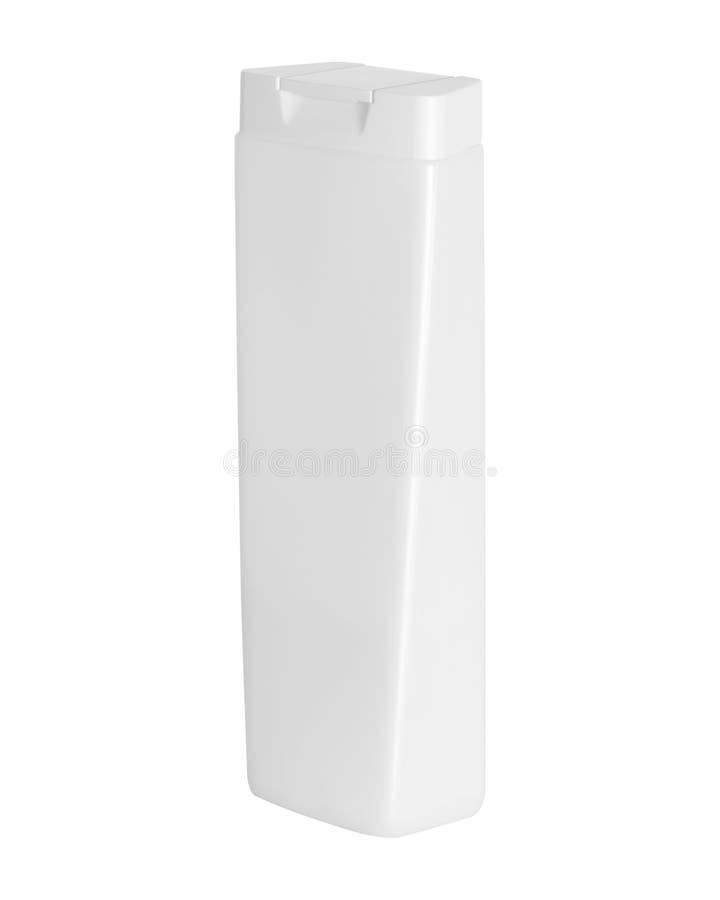 Bouteille de shampooing d'isolement sur le fond blanc Conditionnement en plastique vide pour la conception Chemin de coupure image libre de droits