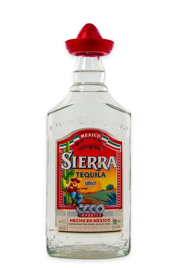 Bouteille de sierra tequila image stock