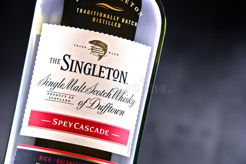 Bouteille de singleton de Dufftown, whisky écossais de malt simple photo stock